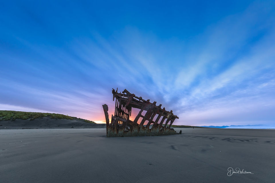 Sun Rise Over the Peter Iredale Ship Wreck print