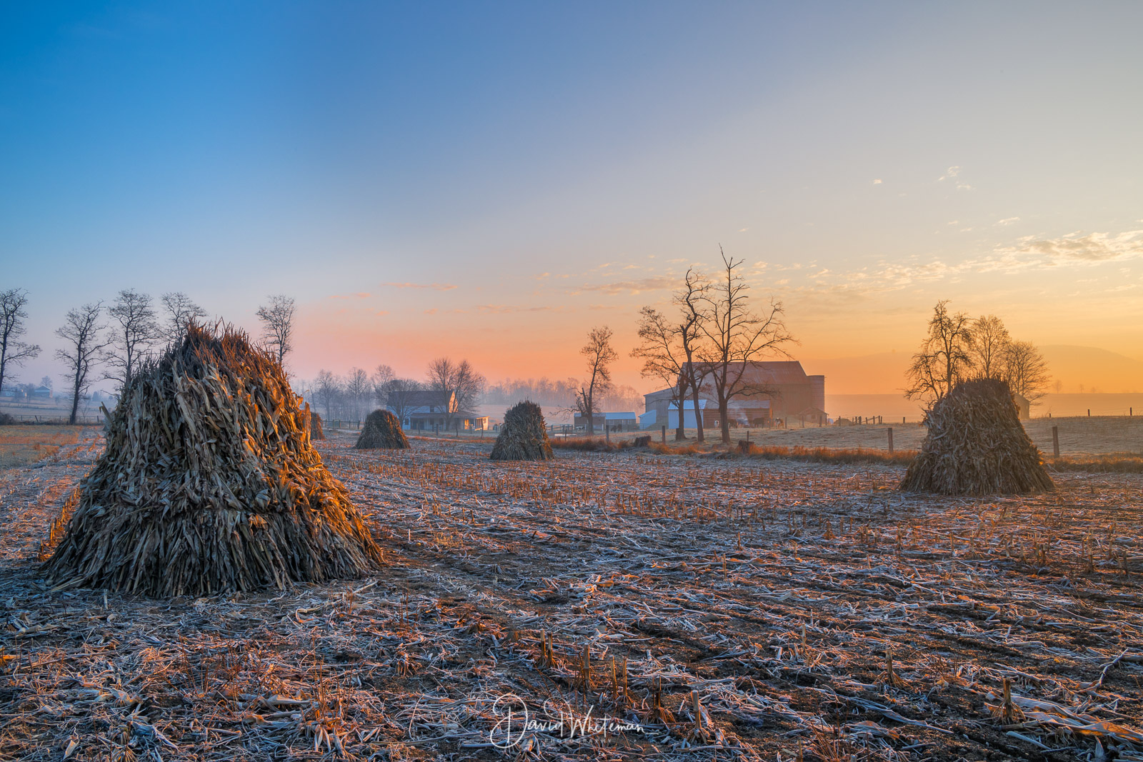 Sunrise On The Corn Stacks